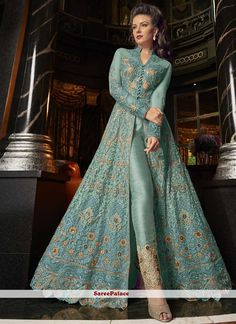 Buy online indian ethnic outfits like salwar suit and party wear salwar suit. Order this observable embroidered, resham and zari work pant style suit for festival and wedding. Indian Designer Outfits, Indian Outfits, Designer Dresses, Anarkali Lehenga, Anarkali Suits, Punjabi Suits, Indian Gowns, Pakistani Dresses, Fashion Pants