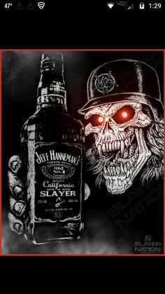 Jack Daniels Tattoo, Jack Daniels Wallpaper, Slayer Tattoo, Badass Skulls, Heavy Metal Art, Skull Pictures, Skull Artwork, Skeleton Art, Skull Wallpaper