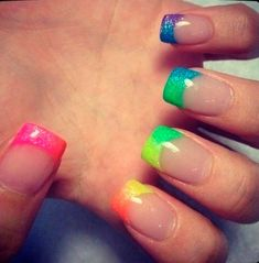 French Nails But With The Color Of Rainbow Manicure By: French Manicure Nails, French Tip Nails, Manicure E Pedicure, Manicure Ideas, French Manicure With A Twist, Neon Pedicure, Stiletto Nails, Love Nails, How To Do Nails