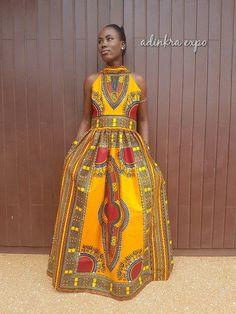Akua African Maxi Dress/ Ankara Dress / Ankara Gown by AdinkraExpo African Evening Dresses, Grey Evening Dresses, African Print Dresses, African Print Fashion, African Fashion Dresses, African Dress, Evening Gowns, Fashion Outfits, Ankara Gowns