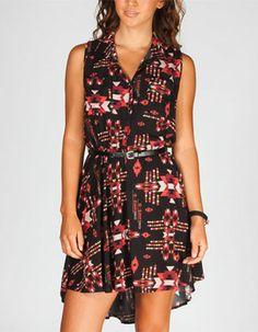 FULL TILT Ethnic Print Hi Low Shirt Dress