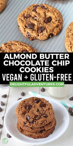 Soft, chewy, eggless & flourless vegan almond butter cookies that are extremely easy to make and also gluten-free! These simple cookies are packed with chocolate chips, and are ready in just 20 minutes! Easy Vegan Cookies, Vegan Oatmeal Cookies, Vegan Gluten Free Cookies, Almond Butter Cookies, Vegan Chocolate Chip Cookies, Vegan Treats, Chocolate Chips, Vegan Food, Vegan Christmas Cookies