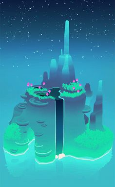 "michaelshillingburg: ""part of a series made for electric objects : ) "" Environment Concept Art, Environment Design, Fantasy Landscape, Fantasy Art, Imagenes Gift, Pixel Art, Arte 8 Bits, Animation, Environmental Art"