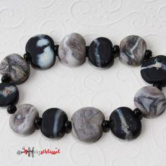 Herzschlüssel: Steine-Armband, Glasperlen, sandgestrahlt, lampwork, glass beads, #DIY