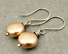 Orecchini in argento Sterling disco perla d'acqua di adorned7