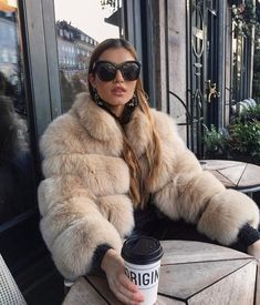 High quality fox fur coat Carla in nude color. Many colors available. Fur Fashion, Look Fashion, Fashion Outfits, Night Outfits, Winter Outfits, Cute Outfits, Best Winter Coats, Fur Clothing, Womens Fashion Stores