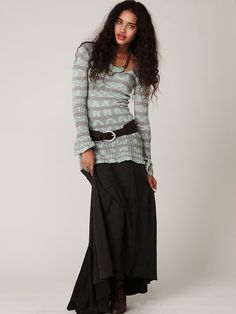 I think I'll wear this! Long sweater with belt over top, with long skirt
