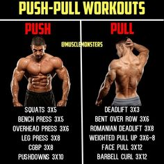 Push, pull is a simple, yet effective training split for anyone. Push workouts include chest, shoulders and triceps. Pull workouts take care of back and biceps. While leg workouts cover quads,. Push Pull Workout Routine, Push Workout, Gym Routine, Workout Schedule, Push Pull Legs Workout, Weight Training Workouts, Gym Workouts, Full Body Workouts, Super Set Workouts