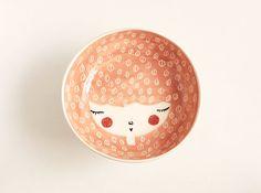 Keramik Schale  Pfirsich Schüssel  Gesicht von MarinskiHandmades, $35.00