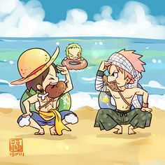 Luffy, Zoro, One Piece, Natsu, Fairy Tail, beach, swimsuits, water, funny, inflatable lifesaver, text, meat, octopus, eating, food, cute, chibi, sleeping, crossover; Anime