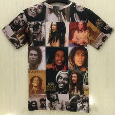 Bob Marley's many faces adorn this completely covered photo print t-shirt. This…