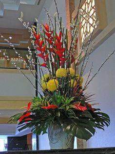 Floral arrangement in Istana Hotel, Kuala Lumpur (Malaysia) Tropical Flowers…