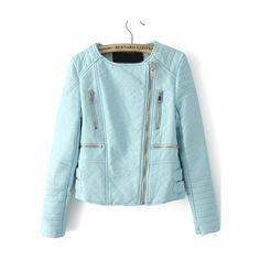 SheIn(sheinside) Light Green Long Sleeve Zipper Crop PU Leather Jacket ($25) ❤ liked on Polyvore