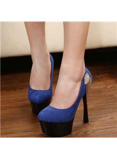 Chic Denim Peep Toe Thick Platform High Heel Shoes