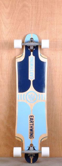"Earthwing 39"" Supermodel 3D Blue Longboard Complete Bottom"