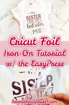 How To Use Cricut Foil Iron On With The EasyPress Baby Onesie Project is part of Teenage crafts Projects - Need to know how to apply Cricut IronOn Foil See how I did it with my Cricut EasyPress in this baby onesie project It's important to Cricut Iron On Vinyl, Cricut Htv, Cricut Craft, Cricut Explore Projects, Vinyl Projects, Cricut Heat Transfer Vinyl, How To Use Cricut, Cricut Tutorials, Cricut Ideas