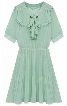 Light Green Short Sleeve Ruffles Pleated Chiffon Dress