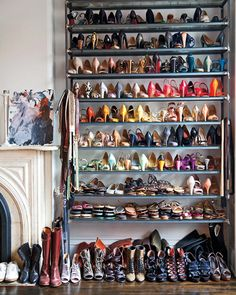 Jenna Lyon's amazing shoe collection organized on industrial style shelving.