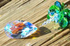 Crystal Suncatcher Swarovski Suncatcher Rainbow Maker Crystal Prism Window Ornament made with Swarovski Drop Blue AB Crystal Light Catcher by AuroraCrystalPassion on Etsy