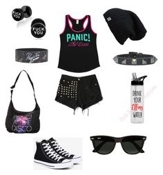 """Panic! At the disco"" by natasha-maria-louise-mason on Polyvore featuring WithChic, Converse, Valentino, Ray-Ban, bandtshirt and bandtee"