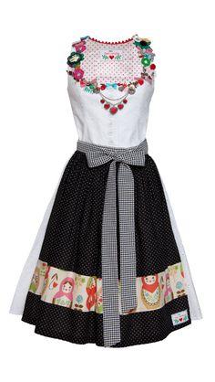Just love the abundance of pretty little adornments around the collar. #dress #dirndl #German #folk #costume #traditional #cute