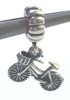 Authentic Pandora BICYCLE w/Basket Silver Dangle Pendant Charm # 791266 BIKE #Pandora #Pendant #bicycle Townie Bike, Pandora Charms, Ebay
