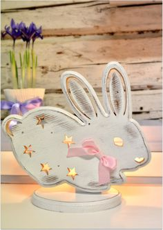 White Bunny table night light for kids by MyRomanticDream on Etsy