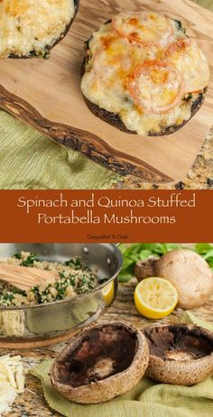 Plump and meaty portabella mushrooms loaded with cheesy spinach and quinoa for a fantastic vegetarian meal. mushroom recipe Spinach and Quinoa Stuffed Portabella Mushrooms - Compelled to Cook Healthy Eating Tips, Clean Eating Snacks, Healthy Lunches, Healthy Nutrition, Vegetarian Recipes, Cooking Recipes, Healthy Recipes, Portobello Mushroom Recipes, Vegan Stuffed Portabella Mushrooms