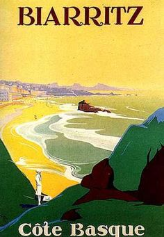 Cote Basque - Biarritz - Travel Poster - Vintage Poster Image on Canvas by vintageprints Vintage Travel Posters, Vintage Postcards, Vintage Advertisements, Vintage Ads, Old Poster, Travel Ads, Travel Photos, Travel Agency, Tourism Poster