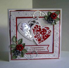 Congratulations / Engagement card - Using Dies from Spellbinders - Grand Squares. - Congratulations / Engagement card – Using Dies from Spellbinders – Grand Squares, Vines of Pass - Wedding Day Cards, Wedding Cards Handmade, Wedding Anniversary Cards, Beautiful Handmade Cards, Pretty Cards, Love Cards, Pinterest Birthday Cards, Tonic Cards, Crafters Companion Cards