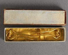 """Housed in what appears to be their original retailer's lidded and silk-lined box, is an exquisite pair of hair Combs/Ornaments for your most fashionable ladies - be they German or French. These will display beautifully in your boudoir scene.  Clips measures: 1 7/8"""" long x 5/8"""" wide  $250.00"""