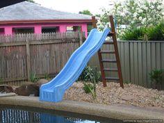 Platform with Pool Slide - Blue - Grand Gazebos & Cubbies Water Slides Backyard, Backyard Slide, Swimming Pool Slides, Backyard Play Spaces, Swimming Pools, Diy Pool Toys, Dyi Pool, Pool Fun, Above Ground Pool Slide