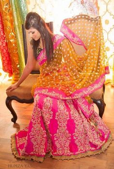 Pink and orange Indian wedding outfit, great for a sangeet