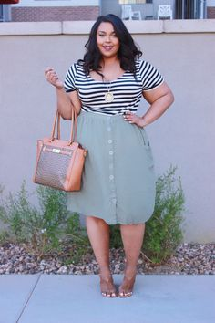 Plus Size Fashion - Stripes and Buttons