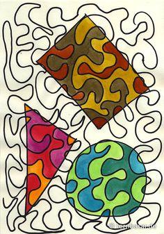 A single, mega-long line - Diy and Crafts Middle School Art, Art School, Food Art For Kids, Scribble Art, Art Lessons Elementary, Elements Of Art, Art Classroom, Art Club, Art Activities