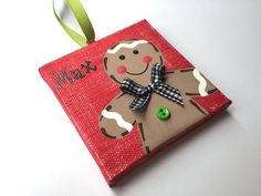 Items similar to Personalized Hand Painted Gingerbread boy ornament on Etsy Kids Christmas Ornaments, Christmas Minis, Personalized Christmas Ornaments, Christmas Art, Christmas Decorations, Ornaments Ideas, Yard Decorations, Christmas Ideas, Small Canvas Paintings