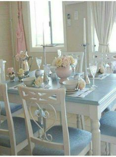 Home Interior Hallway romantic shabby chic white dining table and chairs. with all my heart Shabby Chic Furniture, Shabby Chic Decor, Painted Furniture, Furniture Design, White Dining Table, Dining Table Chairs, Dining Rooms, Dining Set, Blue Dinning Room