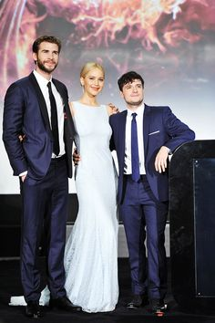 Liam Hemsworth, Jennifer Lawrence and Josh Hutcherson attending 'The Hunger Games Mockingjay Part 2′ Premiere in Beijing, China on November 12.
