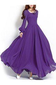 Lila Reißverschluss Langarm-Maxi-Kleid Lange Kleider, Günstige Kleider,  Kleider Rock, 2fea2f18b5
