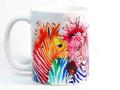Zebra coffee mug Zebra mug Watercolor Mug by ColorfulPrintedGifts
