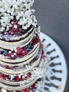 Tort de nunta cu FLOREA miresei și fructe de pădure. Cofetăria BB cakes Dumbravita Timisoara Wedding Cakes, Berries, Tasty, Desserts, How To Make, Wedding Gown Cakes, Tailgate Desserts, Deserts, Cake Wedding