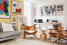 Framed vintage posters are a strong focus in this house. 'The multiple Le Corbusier drawings and posters hanging throughout reference the modernist roots and bones of the house', explains the owner.