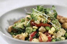 """Fresh Veggie Salad - The dressing looks yummy along with the non-traditional """"salad"""" vegetables used."""