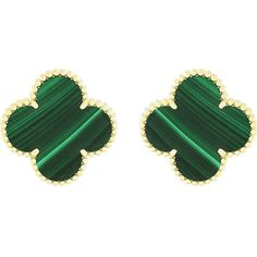 VAN CLEEF & ARPELS Magic Alhambra gold and malachite earrings (1,820 KWD) ❤ liked on Polyvore featuring jewelry, earrings, gold clip earrings, gold earrings, van cleef arpels jewelry, clip on earrings and gold jewellery