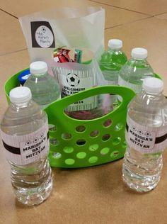 Hotel baskets Soccer Theme, Goalkeeper, Bar Mitzvah, Travel Ideas, Baskets, Water Bottle, Soap, Goaltender, Fo Porter