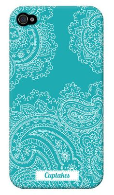 Cuptakes iPhone Covers, such cute cases! Aqua Blue, Shades Of Turquoise, Cute Cases, Cute Phone Cases, Iphone Cases, Paisley Pattern, Paisley Print, Smartphone Iphone, My Favorite Color