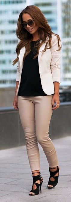 #streetstyle #fashion | White Blazer + Black Top + Nude Leather Pants | Johanna Olsson