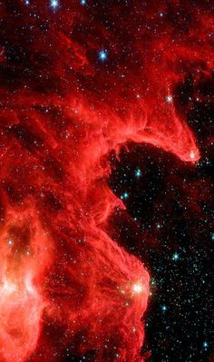 The Mountains of Creation nebula (W5) from the Spitzer space telescope. The image, dubbed the Mountains of Creation by astronomers, reveals hotbeds of star formation similar to the iconic Pillars of Creation within the Eagle Nebula, photographed in 1995 by the Hubble Space Telescope.