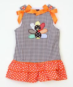 This Brown Gingham Turkey Ruffle Dress - Infant & Toddler by Lil Cactus is perfect! #zulilyfinds