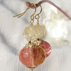 Citrine Glass Bead Dangle Earrings Bead Caps Pink Brown Pale Yellow | ThaddeusRose - Jewelry on ArtFire by sammsfamily